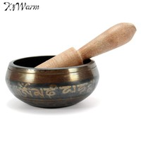 Vintage Tibetan Buddhist Brass Chakra Singing Bowl Yoga Meditation Healing Wood Hammer for Home Garden Room Decoration