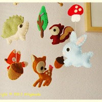 Felt Nursery Crib Mobile Baby Deer and Forest Friends by hingmade