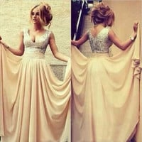 Custom made sequins A-line V neck chiffon long prom dress elegant bridesmaid dress