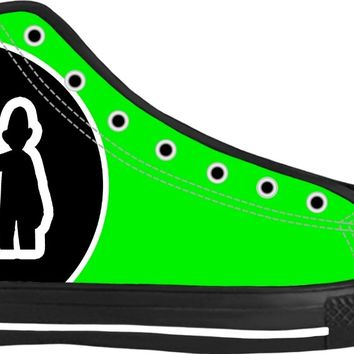 """Say Cheese"" Neon Green High Top Canvas Sneakers by Moodlins Apparel and Novelty"