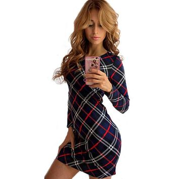 summer Autumn dress women long sleeves Plaid O-Neck vintage dress Pencil Slim Mini woman dresses sundress clothing