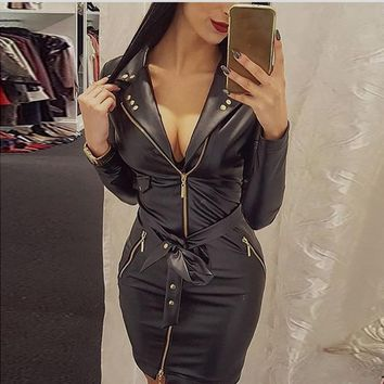 2018 Fashion PU Leather Dress Women V Neck Mini Long Sleeve Sexy Dress Christmas Sash Zipper Winter Black Short Dress Vestido