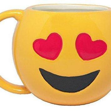 The Heart Eyes Emoji Coffee Mug | Yellow Ceramic
