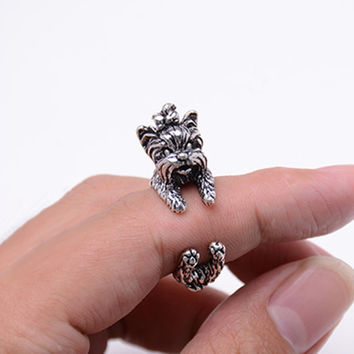 Free Shipping Vintage West Highland Yorky Terrier Rings Streched Animal Yorkshire Puppy Dog Rings for Women
