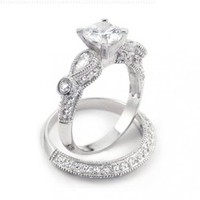 Bling Jewelry Vintage Wedding Engagement Ring Set Round 2-ct CZ Teardrop Sidestones Sterling Silver - Size 9