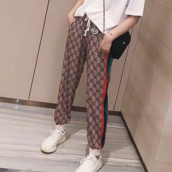 """Gucci"" Women Retro Fashion Multicolor Stripe GG Letter Sweatpants Leisure Pants Trousers"