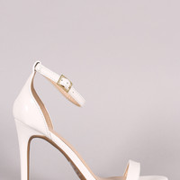 Wild Diva Lounge Patent Ankle Strap Open Toe Heel