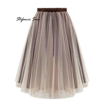Summer Style Women Midi Skirts Long Tulle Skirt Pleated Adult tutu
