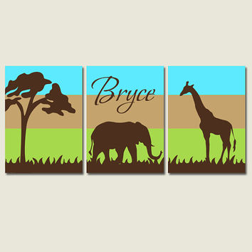SAFARI Wall Art Canvas or Prints NURSERY Jungle Giraffe Elephant Ombre Tree Zoo Animals Boy Bedroom Artwork Set of 3 Nursery Decor Pictures