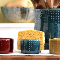 Kitchen Sponge Holder - Custom Color Choice - Dot Design - Modern Home Decor