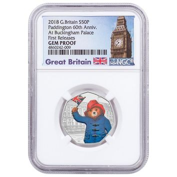2018 Great Britain 8 gram Silver Proof Paddington Bear At Buckingham Palace NGC PF-70 (First Releases)
