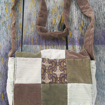 Browns Firefly Serenity Patchwork Recycled Corduroy Crossbody Purse Browncoat Ready to Ship