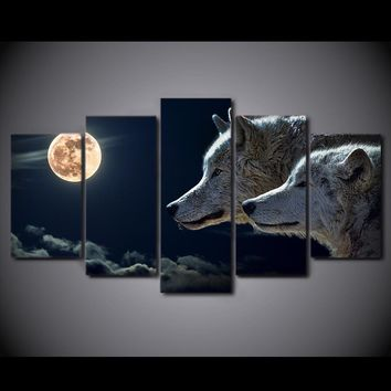 White Wolf Moon at Full Moon Wolves 5 piece wall art on canvas