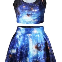 Pink Queen® Blue Galaxy Print 2 Piece Crop Tank Top Tees and Flare Skirt Set