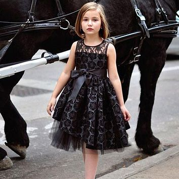 England Style Black Dress Sports Christmas Holiday Vestidos Sheer Neckline Knee-Length Tulle Tutu Rosette Flower Girl Dress