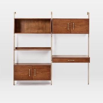Linden Mid-Century Wall Desk + Storage Set
