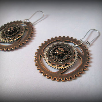 Steampunk earring-watch parts earring-drop earring-punk earring-big earring-round earring