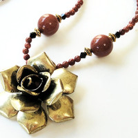 Brown Goldstone Necklace, Vintage Brass Flower Pendant Beaded Necklace, Birthday, Anniversary Gift Under 50