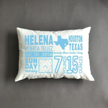 Birth Announcement Pillow , New Mom Gift ,  Mother's Day Gift , Personalized Baby Gifts,New Baby Gift, Baby Stats Pillow