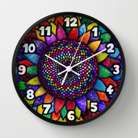 Flower of Life (sacred geometry rainbow chakra) Wall Clock by EllipsisArts