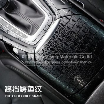 High quality 3D car simulation faux crocodile skin leather car wrap vinyl film retro crack design interior decoration free ship