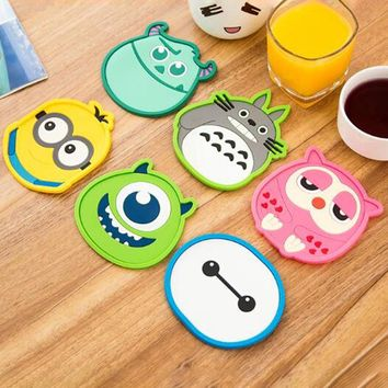 New Silicone Cartoon animal Totoro Cup Coaster Nonslip Place Mat pads Cup Cushion Minions Tea Cup Holder