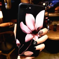 Cases For iphone 7 7plus case Flower  Relief Silicone cover