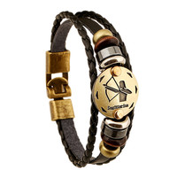 12 Zodiac Sings Bracelets Fashion Jewelry Leather Bracelets Men Casual Personality Alloy Vintage Punk Bracelet 1176