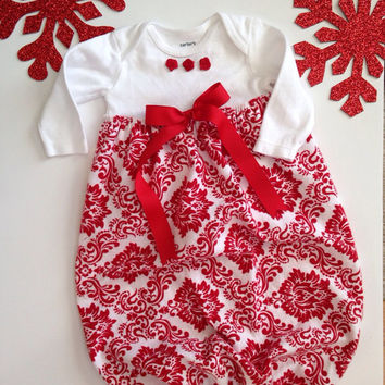 Red and White Flannel Sleep Sack, Christmas Sleep Sack, Red Layette Gown, Christmas Dress, Red Onesuit Dress