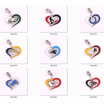 Chiefs Redskins texans Colt Lions Chargers Panthers Eagles Falcons team logo swirl heart Pendant DIY Necklace or Bracelet