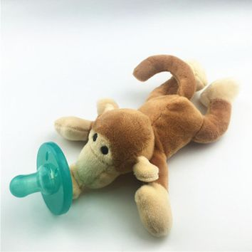1PC Soft Baby Pacifier Toy Cute Cartoon Animal Baby Plush Pacifier Rattle