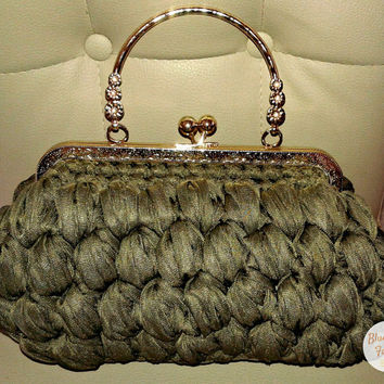 Unique Green Crochet Ribbon Clutch Bag Clutches Gifts Handbag Fabric Click Clak Gold Metal Frame