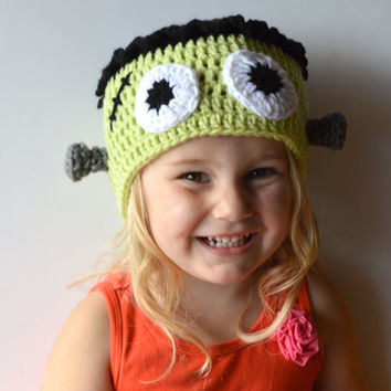 Kids Dress Up Frankenstein Hat, Halloween Beanie, Kids Halloween Costume, Fall Boys Hat, Girls Green Monster Hat, Crochet Halloween Monster