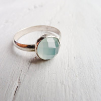 Aqua Chalcedony Ring Faceted w/ Sterling Band by CamileeDesigns