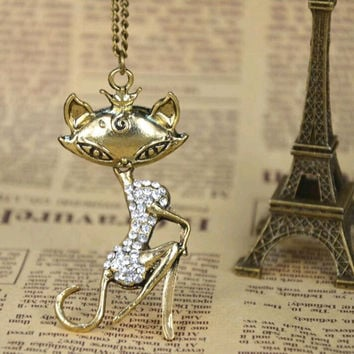 Womens Sexy Cat Girl Rhinestone Crystal Pendant Necklace