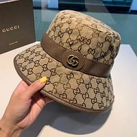 """Gucci"" Women All-match Retro GG Letter Belt Buckle Fisherman Cap Fashion Sun Hat"