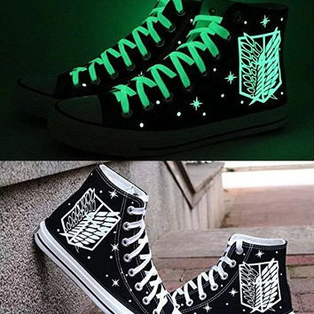 The Wings of Freedom glow in the dark canvas shoes, Unisex Men Women's Shoes Teenagers Casual Hand Painted Graffiti Shoes