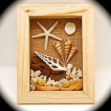 "Shellscape Shadow Box Handmade Wall Art 9.25"" Tall by 7.25"" Across by 1.75"" wide. Hand"