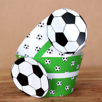 Printable 3D Soccer Ball ( football ) Sports Party Cupcake Wrapper Set with a green & white ball pattern INSTANT DOWNLOAD