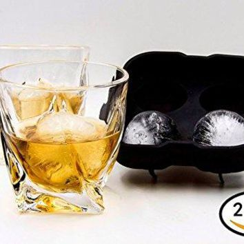 Bourbon Whiskey Scotch Glasses Set of 2 Glassware With a Complimentary Ice Maker   Comfortable Beautiful Elegant Tumbler for Scotch Whisky or Other LiquorsAlcohol