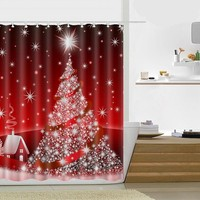 Snowman Merry Christmas Shower Curtain Waterproof Polyester Fabric Santa Claus Bath Curtain Bathroom Products Christmas Gift