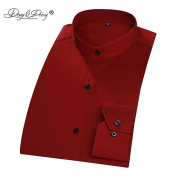 DAVYDAISY Men Mandarin Collar Long Sleeve Classic Solid Slim Fit Dress Shirt