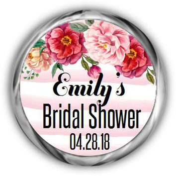 Watercolor Bridal Shower Kisses Stickers