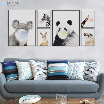 Nordic Kawaii Animal Panda Zebra Giraffe Dog Funny Pop Posters Prints Home Wall Art Pictures Kids Room Decor Big Canvas Painting