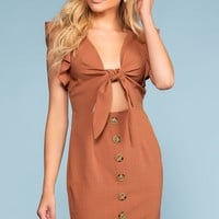 Bold And Beautiful Tie-Front Button Dress - Brick