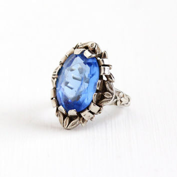 Vintage Art Deco Sterling Silver Simulated Sapphire Ring - 1930s Size 5 Repousse Flower Leaf Vine Oval Blue Glass Stone Statement Jewelry
