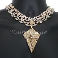 """Iced Out Anchor Diamond Jesus 16"""" Iced Out Choker 18"""" Puffed Gucci Chain Set G64"""