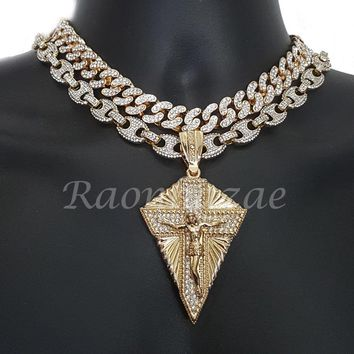 "Iced Out Anchor Diamond Jesus 16"" Iced Out Choker 18"" Puffed Gucci Chain Set G64"