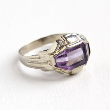Antique Art Deco 10k White Gold Amethyst Ring - 1920s Size 11 Mens Purple Gemstone Geometric Fine Jewelry Hallmarked La France