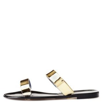 Black Bamboo Metallic Jelly Slide Sandals